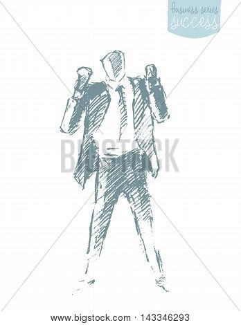 Hand drawn vector illustration of a successful businessman. Winner, leadership. Concept vector illustration, sketch.