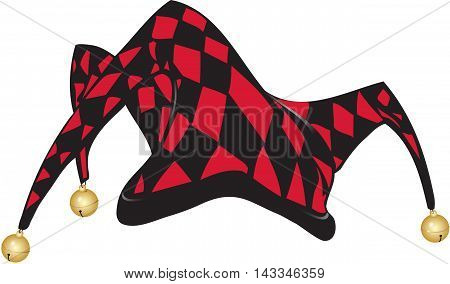 Joker's hat in black and red pattern with attached bells