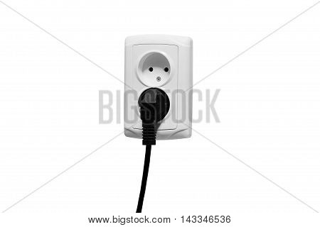 Standart Outlet With Plug Isolated On White