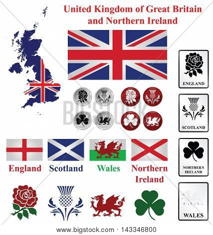 United Kingdom collection of map flags and national emblems of England Scotland Wales Northern Ireland isolated on white background