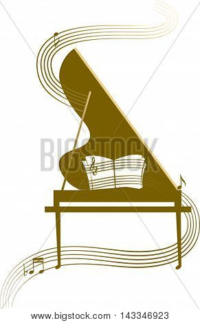Stylized Grand piano with musical wave in golden color