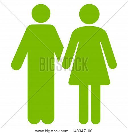 Married Couple icon. Vector style is flat iconic symbol with rounded angles, eco green color, white background.