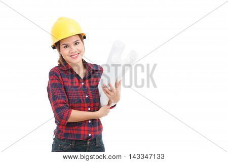 Asian Engineer Woman With Blueprints Isolated On White Background