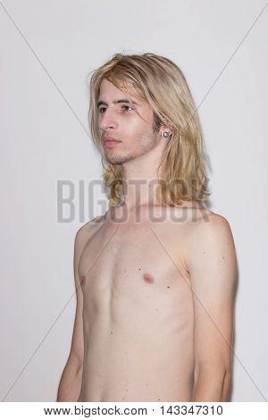 Young Man Model Snapshot Polaroid Side View