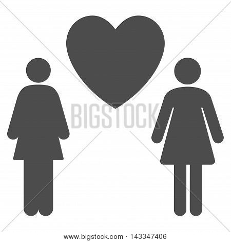 Lesbi Love Pair icon. Vector style is flat iconic symbol with rounded angles, gray color, white background.