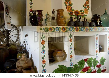 Ukrainian vintage interior in the style of the cottage in a remote area