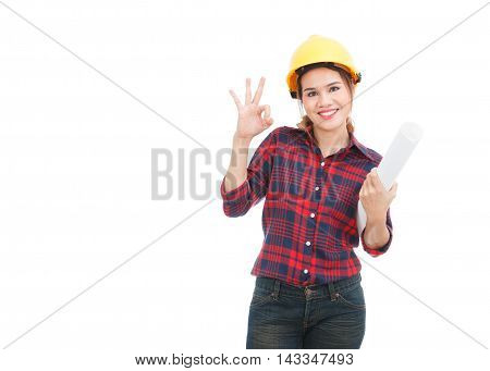 Asian engineer woman show OK sign with blueprints isolated on white background