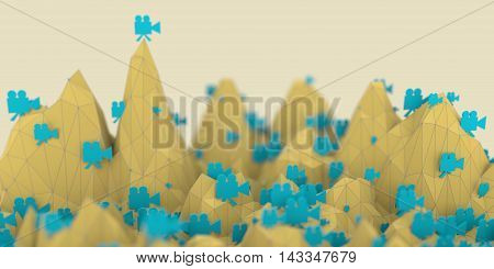 Low poly mountains landscape. 3d rendering. Polygonal mosaic background. Retro video camera flat icons