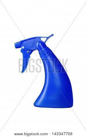 Blue Spray Bottle Isolated On White Background
