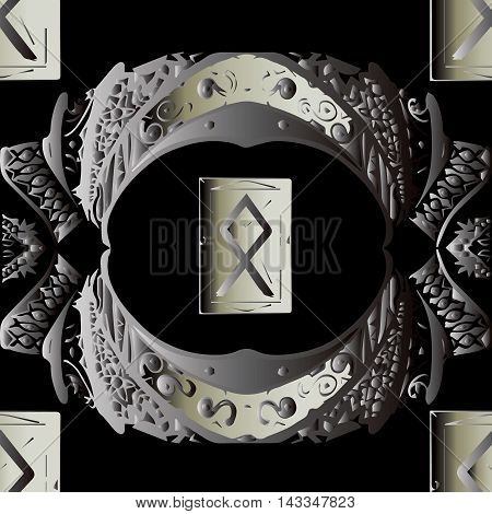 Dark magic vector seamless pattern background with ancient Old Norse rune (Futhark) Opila.Luxury illustration and royal 3d decor elements with shadow and highlights. Endless elegant  texture.