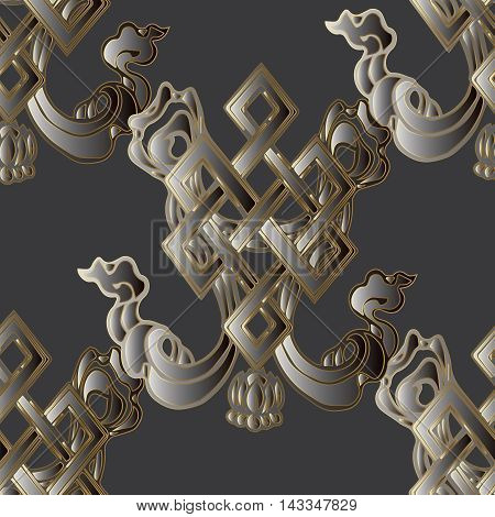 Elegant modern vector seamless pattern background with ornate magic Buddhist symbol - endless knot. Geometric figure, symbolizing prosperity, unity of all things and the fickle nature of time.Happiness and good luck symbol.Luxury illustration and royal 3d
