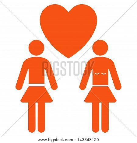 Lesbi Love Pair icon. Vector style is flat iconic symbol with rounded angles, orange color, white background.