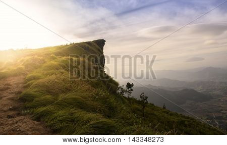 The peak of the mountain and cloudscape at Phu chi fa in ChiangraiThailand