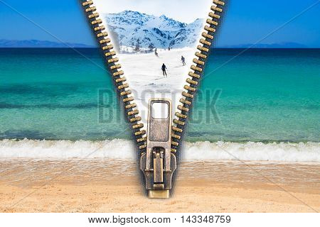Abstract image of the change concept with summer beach view and winter ski resort split by an open zip.