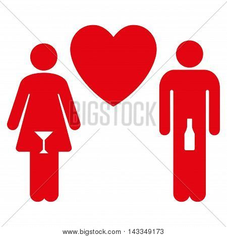 Drunky Love Pair icon. Vector style is flat iconic symbol with rounded angles, red color, white background.