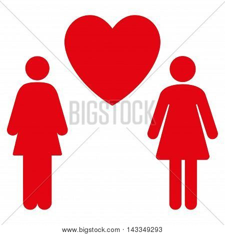Lesbi Love Pair icon. Vector style is flat iconic symbol with rounded angles, red color, white background.