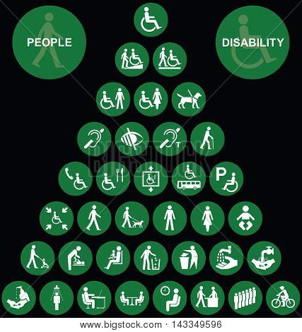 Green disability and people related pyramid graphics collection isolated on black background