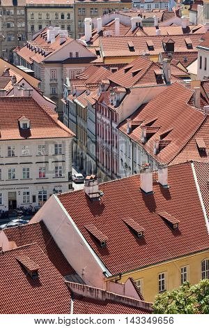 PRAGUE CZECH REPUBLIC - AUGUST 08 2016: Old town of Prague on August 08 2016 in Prague. Prague is the capital and largest city of the Czech Republic