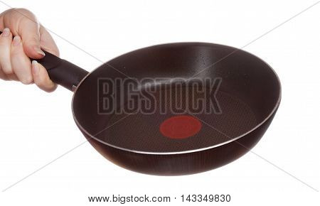 Frying Pan In Hand, Isolated On White Background