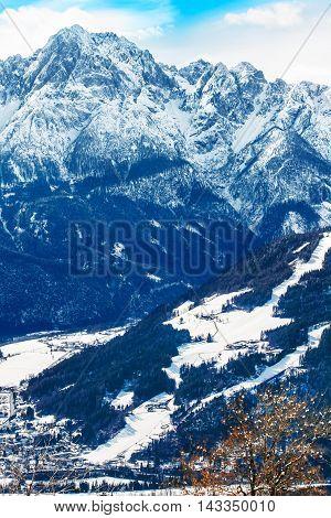Mountain ski resort Lienz, Austria with Dolomites mountain as background.