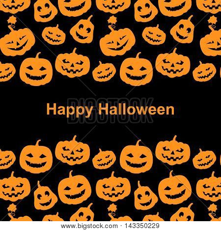 Vector illustrations of Halloween orange pumpkins with scary faces horror black background