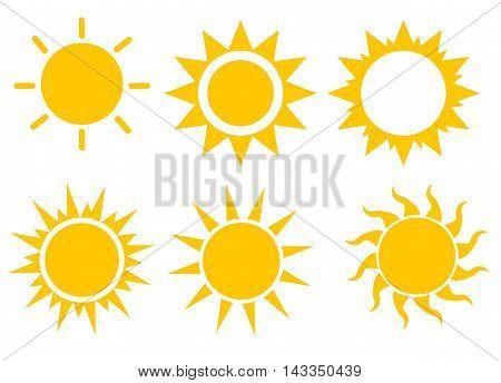Sun icon set vector illustration, sunset icons