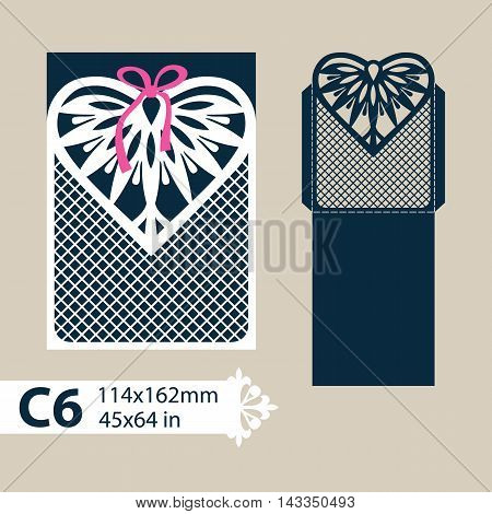 Layout congratulatory envelope with carved openwork pattern heart. Template for wedding greeting cards invitations etc. Picture suitable for laser cutting plotter cutting or printing. Vector