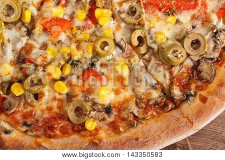 Vegetarian Pizza On Rustic Wooden Background, Fast Food