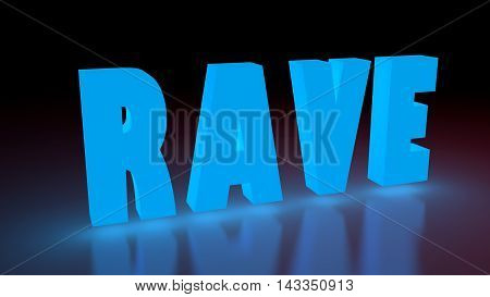 Rave music genre neon shine word on reflected surface. 3D rendering