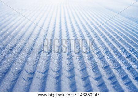 Freshly groomed ski slope in Molltaler Glacier ski resort, Austria.