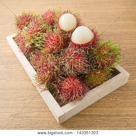 Fresh Fruits Ripe and Sweet Refreshing Rambutan Served on A Wooden Tray.