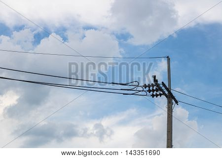 The Electricity pole on Blue Sky in Thailand