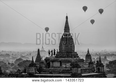 Ancient Temples in Bagan Myanmar (Black and white Tone)