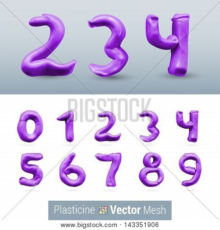 Numeral Purple Color Isolated on Background Set