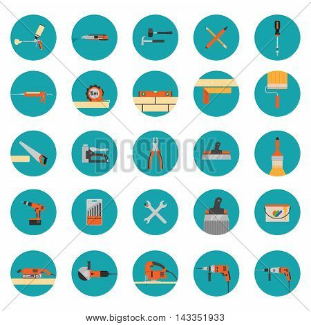 Construction tools icons set - Flat style vector icons
