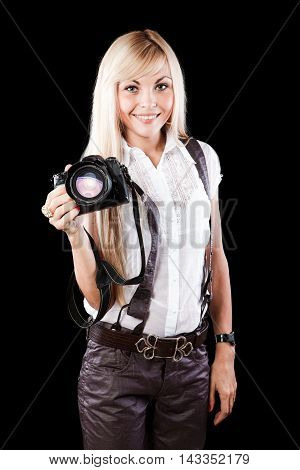 Young Beauty Woman With Photo Camera Isolated On Black Backgroun
