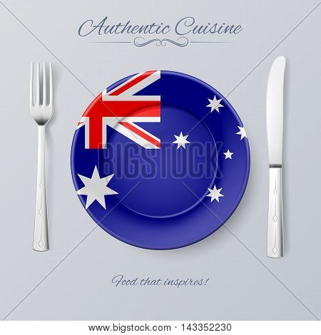 Authentic Cuisine of Australia. Plate with Australian Flag and Cutlery