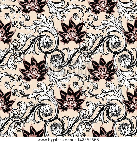 Baroque floral vector seamless pattern background with baroque antique ornament and vintage flowers.