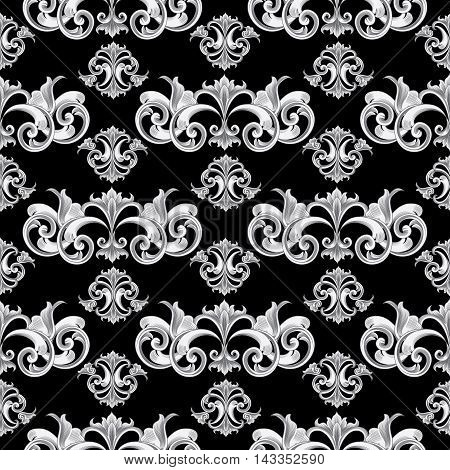 Vintage baroque damask vector vintage seamless pattern background with elegant decorative oriental  volumetric ornaments. Luxury element for design in Eastern style.Ornate 3d decor with shadow and highlights.