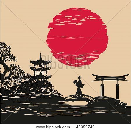 abstract Asian Landscape and beautiful Asian girl , vector illustration