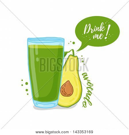 Design Template banner, poster, icons avocado smoothies. Illustration of avocado juice Drink me. Freshly squeezed fruit avocado juice for healthy life. Vector