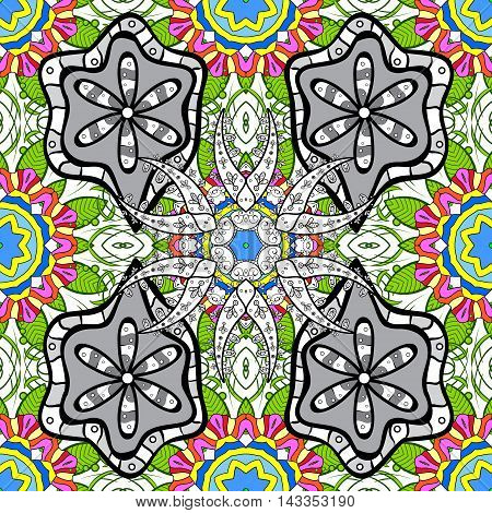 Seamless floral vivid pattern with colorful doodles flowers. Vector