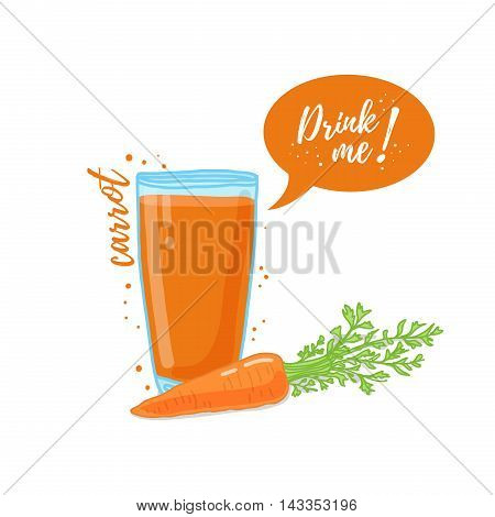Design Template banner, poster, icons carrot smoothies. Illustration of carrot juice Drink me. Carrot fresh vegetable cocktail. Vector