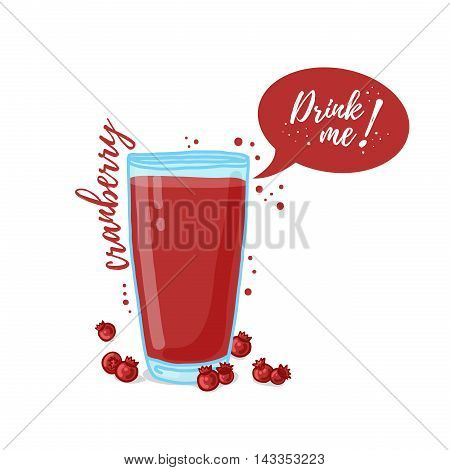 Design Template banner, poster, icons cranberry smoothies. Illustration of cranberry juice Drink me. Freshly squeezed berry cranberry juice for healthy life. Vector illustration