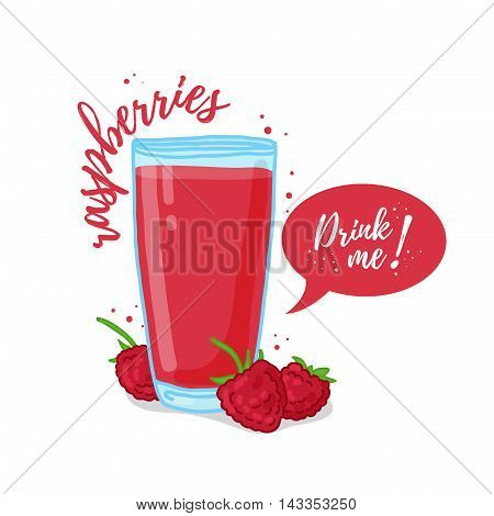 Design Template banner, poster, icons raspberries smoothies. Illustration of raspberries juice Drink me. Raspberries fresh berry cocktail. Vector illustration