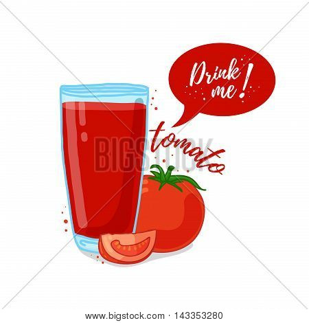 Design Template banner, poster, icons tomato smoothies. Illustration of tomato juice Drink me. Tomato fresh vegetable cocktail. Vector illustration
