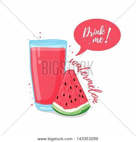 Design Template banner, poster, icons watermelon smoothies. Illustration of watermelon juice Drink me. Watermelon fresh fruit cocktail. Vector