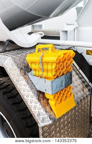 yellow locking block for truck. Focus on the block