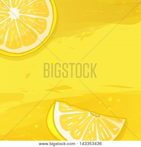 Template design banner background with lemon fruit. The back with a slice of lemon and a watercolor texture. Making for fruit drinks and juices. Space for your text. Vector illustration