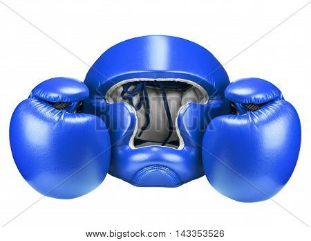 Boxing helmet and blue gloves isolated on white